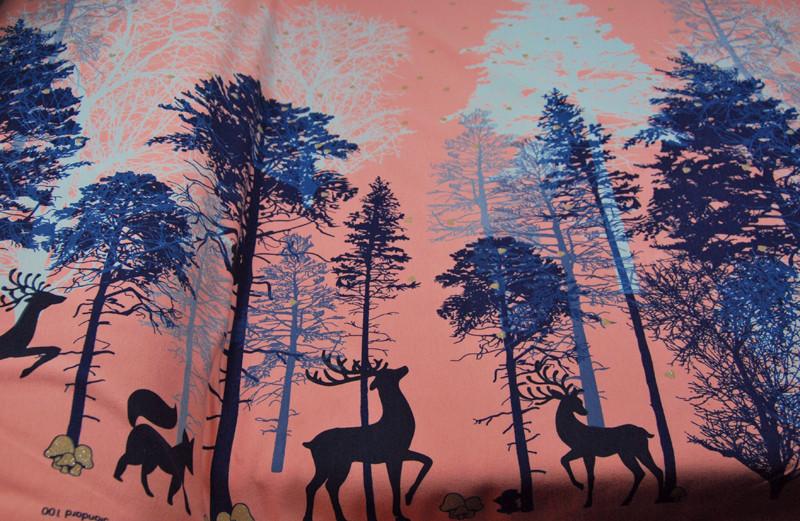 JERSEY - Waldtiere-Bäume auf Altrosa - 0,5 m - 4