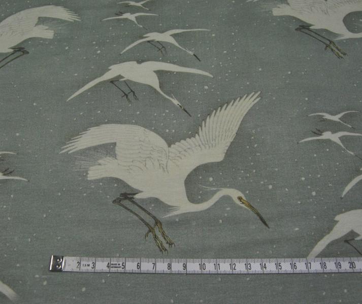 Viskose - Reiher auf mattem Oliv - 0 5m