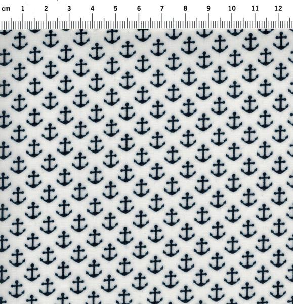 Beschichtete Baumwolle Anker auf Weiß 50x70 cm - 2