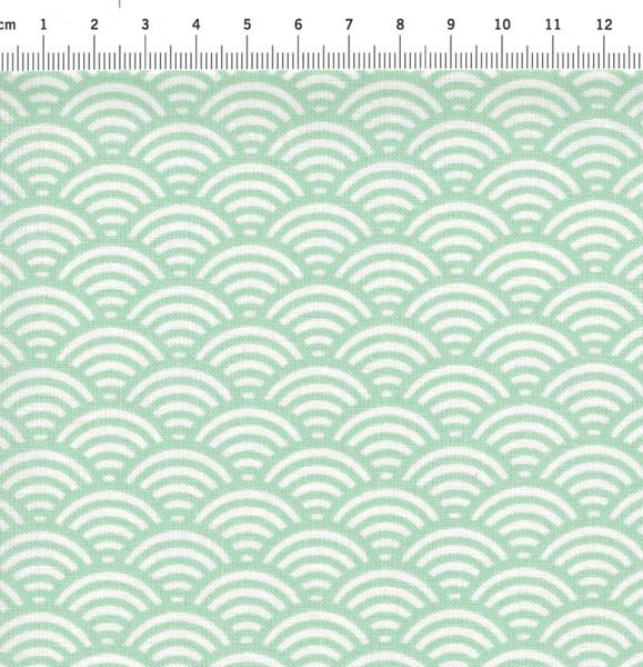 Beschichtete Baumwolle Wellenmuster Mint 50 x