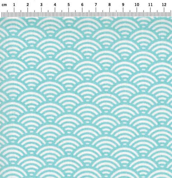 Beschichtete Baumwolle Wellenmuster Hellblau 50x78cm - 2