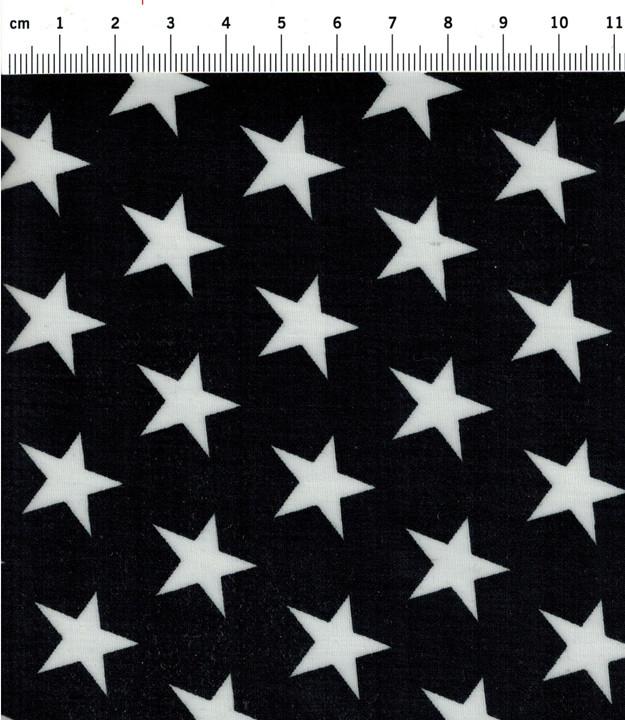 Beschichtete Baumwolle Sterne auf Schwarz 140cm