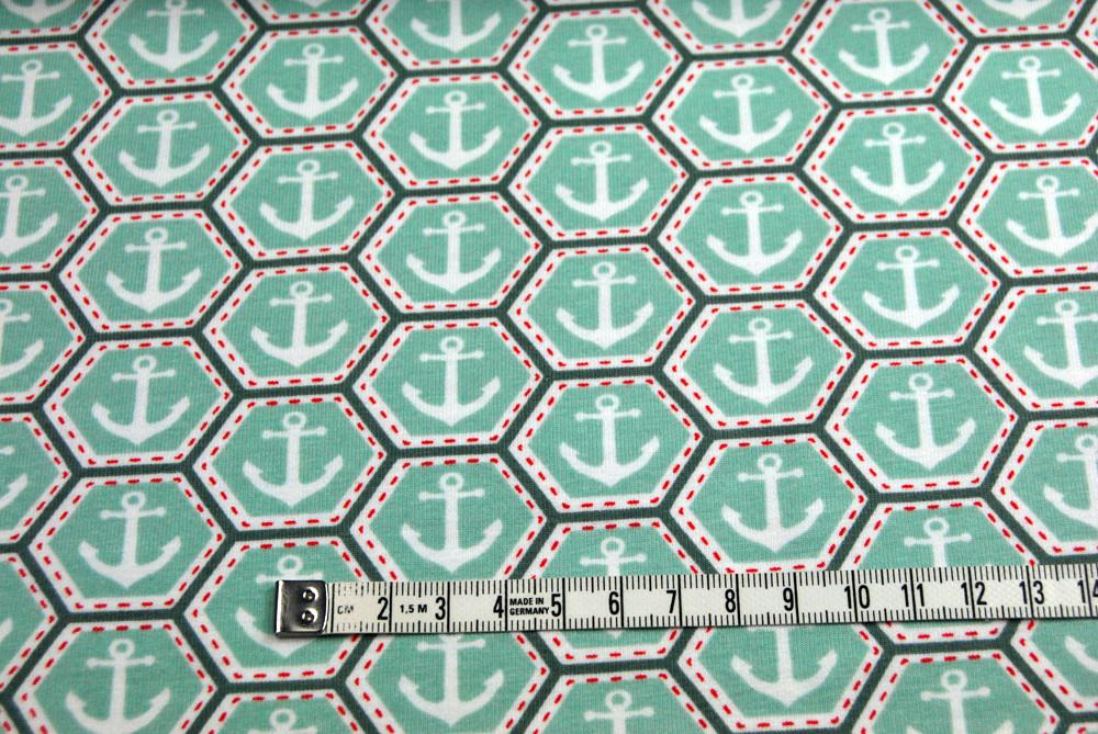 Jersey - Anker auf Wabe - Mint - 0 5m