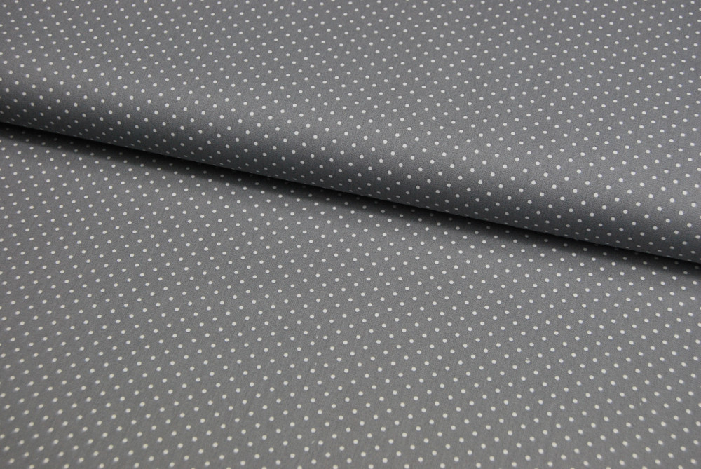 Petit Dots auf Grau - Baumwolle - 1