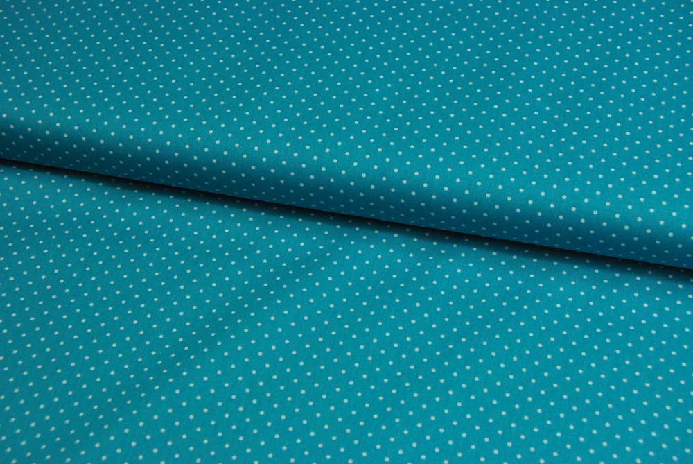 Petit Dots auf Türkis - Baumwolle - 1