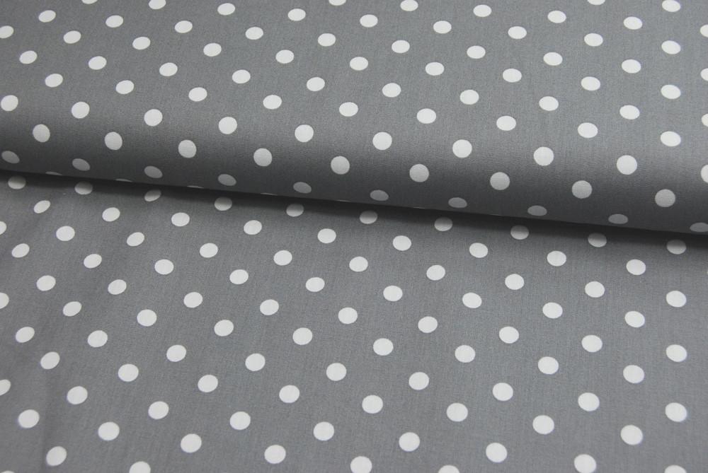 Weiße Dots auf Grau - Baumwolle