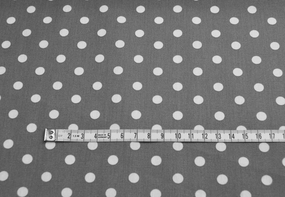 Weiße Dots auf Grau - Baumwolle 0,5 m