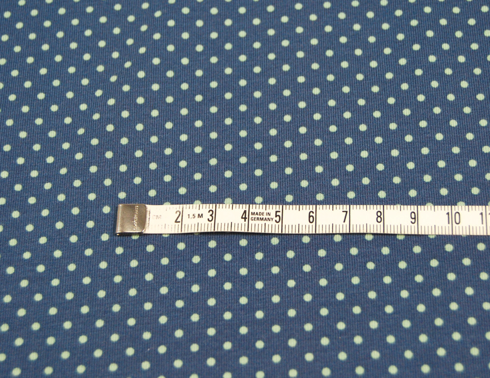 JERSEY - Jeansblau mit olivfarbenen Punkten 0 5m