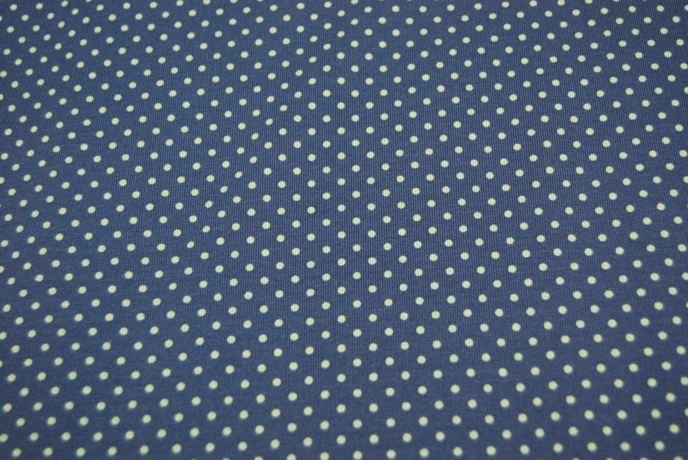 JERSEY Jeansblau mit olivfarbenen Punkten 05m