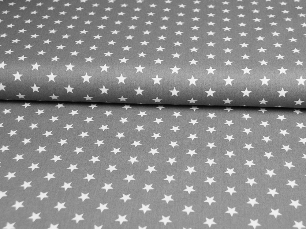 Petit Stars Sterne auf Grau Baumwolle