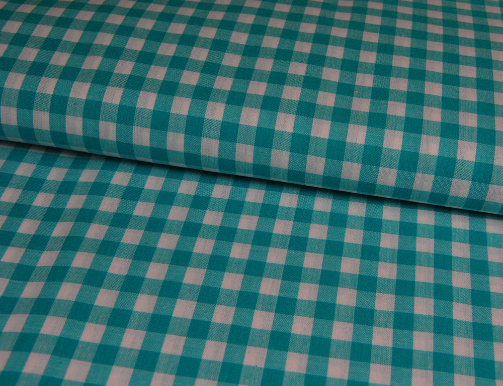 großes Karo Türkis Baumwolle 0,5m / Zefir 0.9 cm - 1