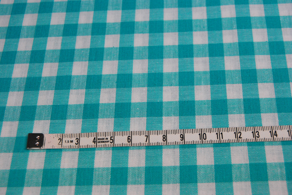 grosses Karo Tuerkis Baumwolle 0 5m / Zefir 0.9 cm