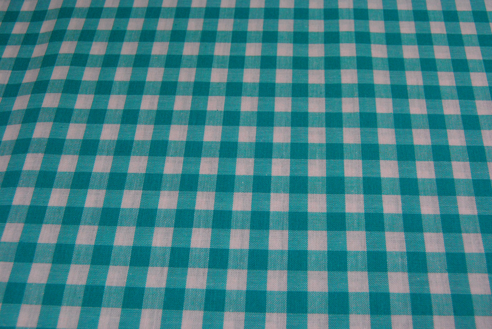 großes Karo Türkis Baumwolle 0,5m / Zefir 0.9 cm - 3