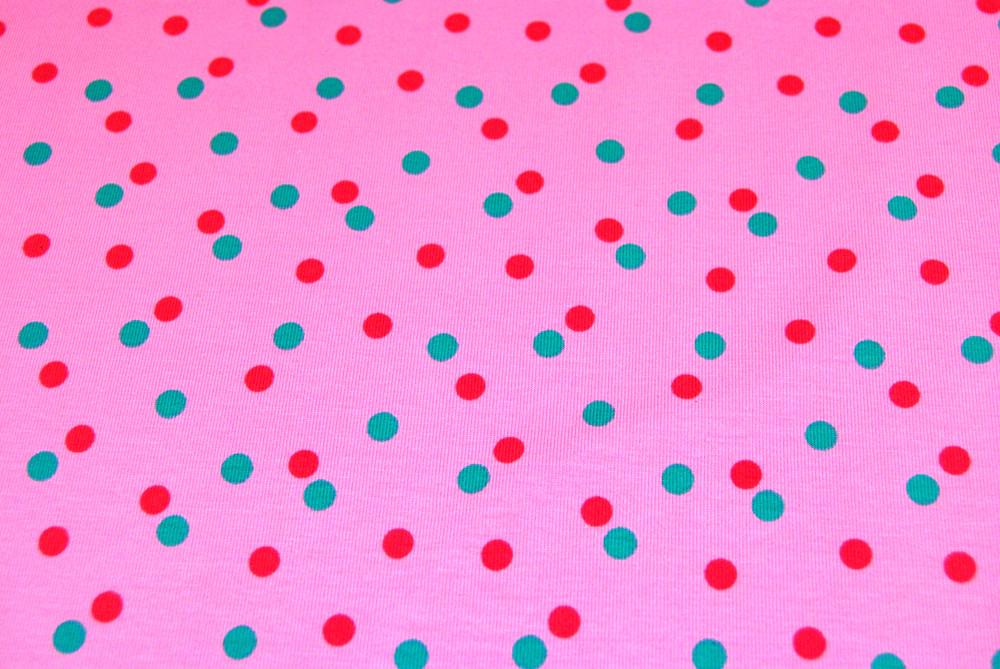 JERSEY - Tuerkis-Pinke Punkte auf Rosa - 0 5m