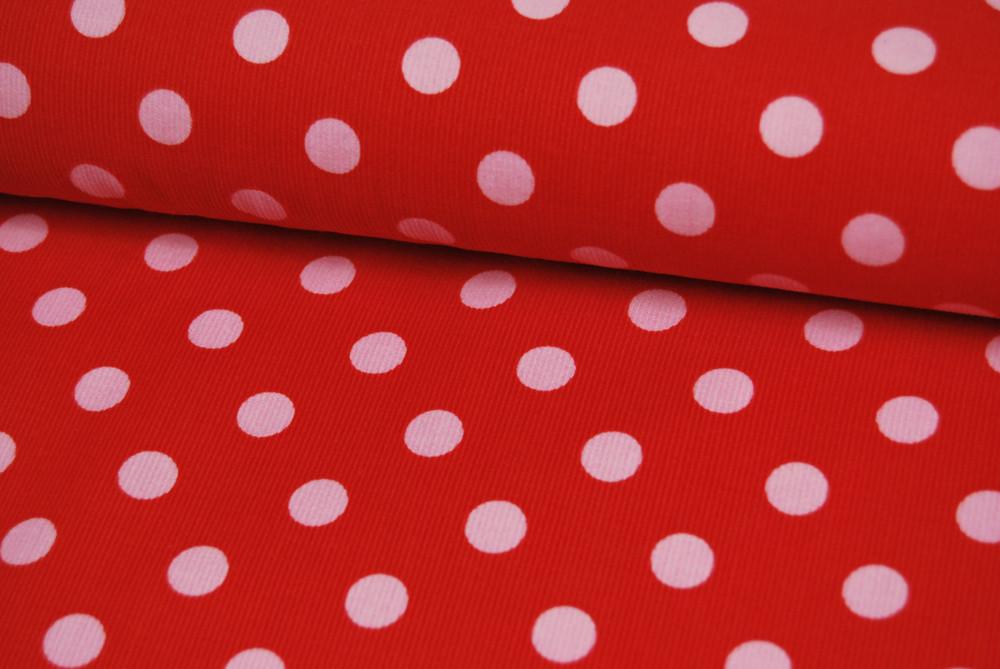 Roter Feincord mit Rosa Punkten 0 5 Meter
