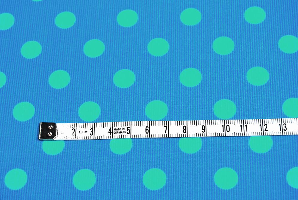Türkiser Feincord mit helltürkisen Punkten 0,5m - 2