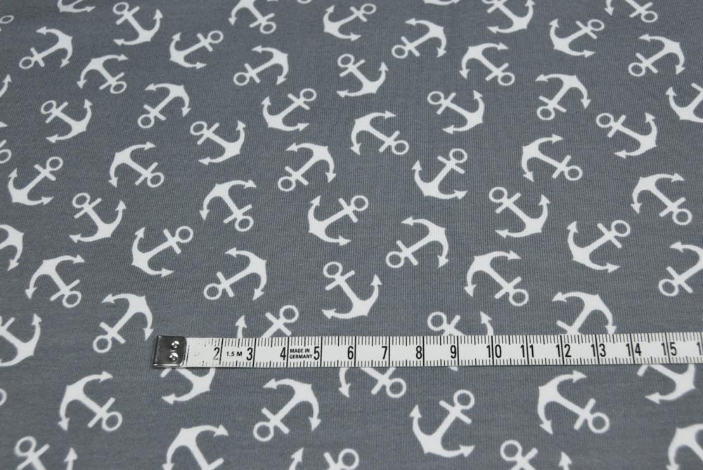 Jersey - Ahoi - Weiße Anker auf Grau - 0,5 m - 2