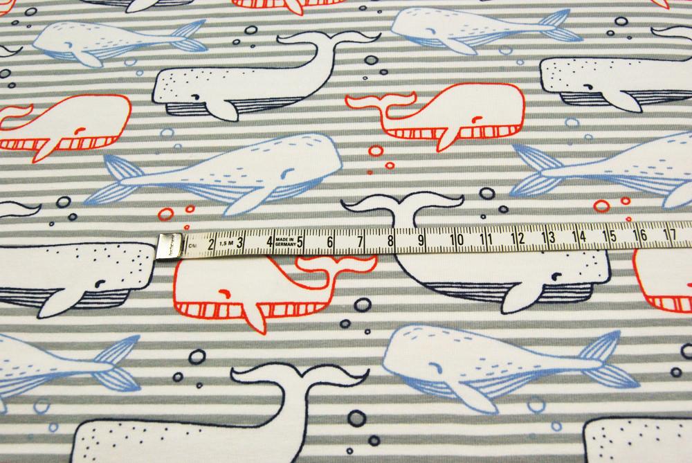JERSEY - Wale auf grauen Streifen - 0 5m