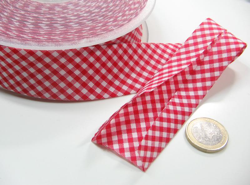Schraegband - 1 Meter - 3cm breit - Karo Rot-Weiss
