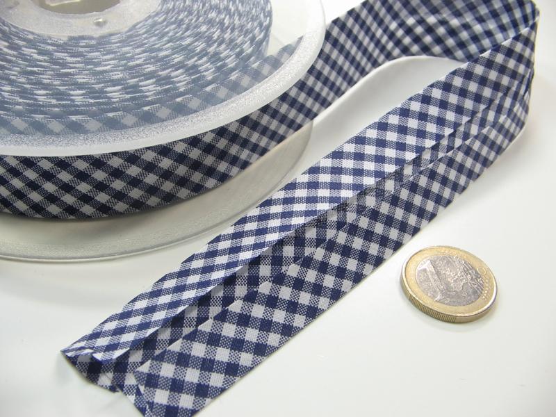 Schrägband Meter 3cm breit in Blau-Weiß