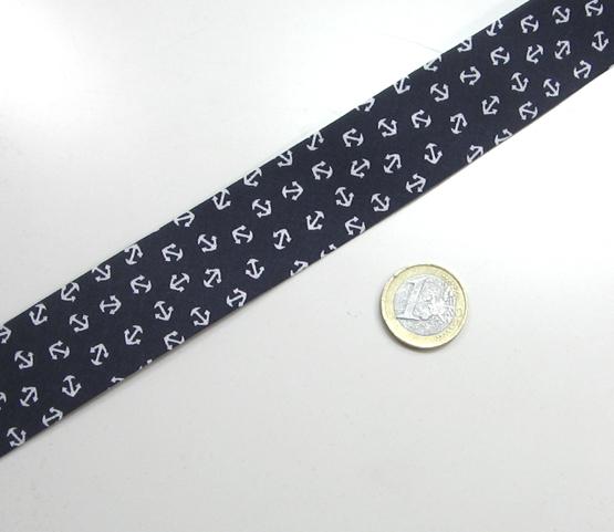 dunkelblaues Schrägband mit Ankern 3cm breit