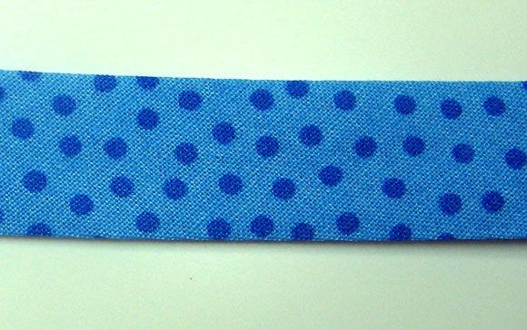 Schraegband 1 Meter hellblau mit dunkelblauen Punkten