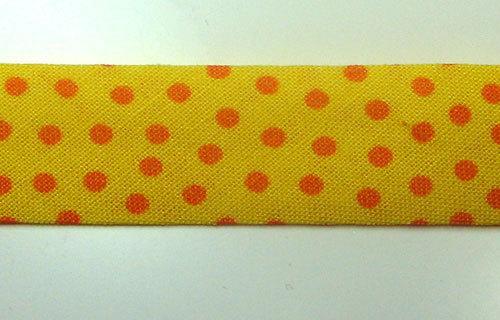 Schrägband Meter Sonnengelb mit orangenen Punkten