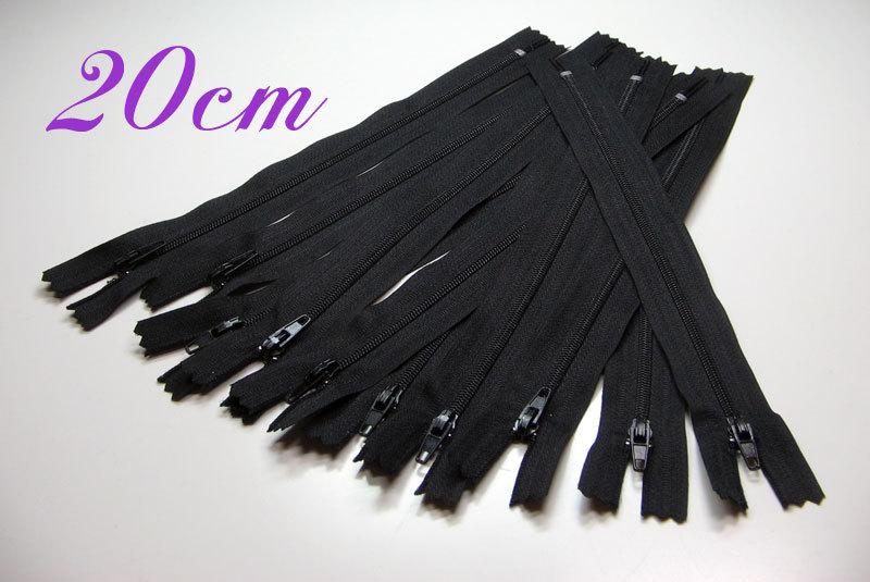 10 x 20cm schwarze Reißverschlüsse - 1