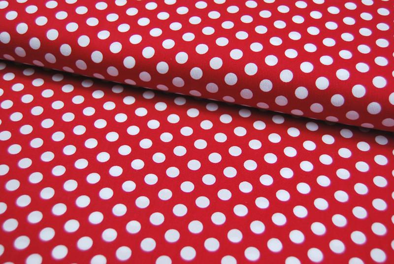 Rote Baumwolle mit weißen Punkten 0,5 Meter