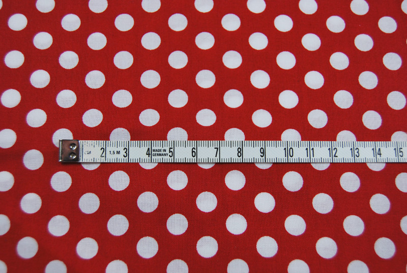 Rote Baumwolle mit weißen Punkten 0,5 Meter - 2