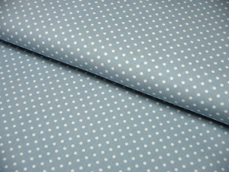 Hellblaue Baumwolle mit weißen Punkten Meter - 1