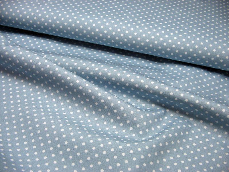 Hellblaue Baumwolle mit weißen Punkten Meter - 2