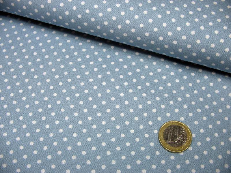 Hellblaue Baumwolle mit weißen Punkten Meter - 3