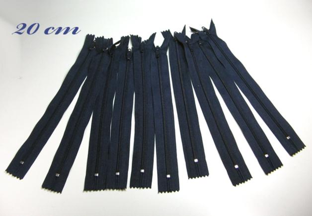 10 x 20cm nachtblaue Reißverschlüsse