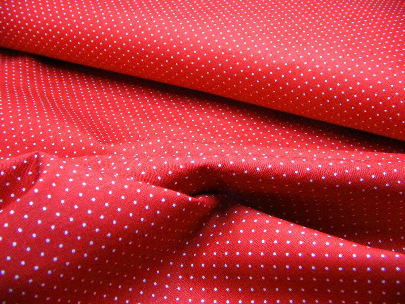 Rote Baumwolle mit weisse Minipunkte 0 5 Meter