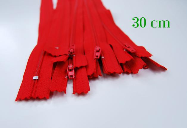 10 x 30 cm kirschrote Reißverschlüsse