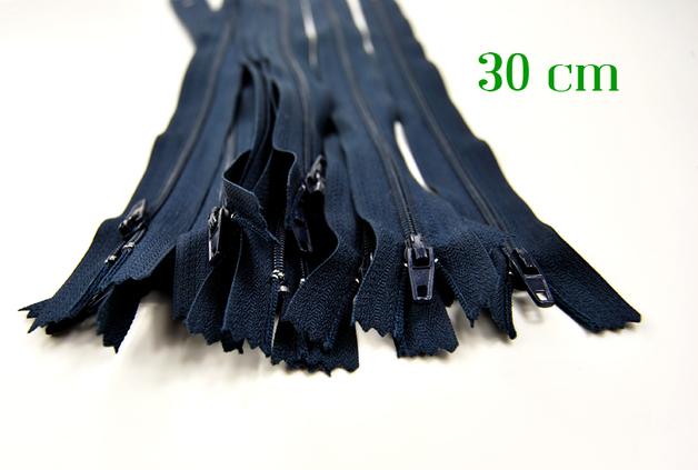10 x 30cm nachtblaue Reissverschluesse