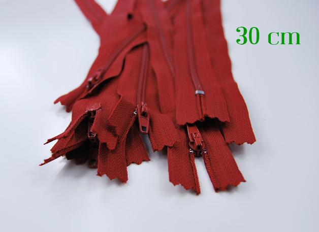10 x 30cm dunkelrote Reissverschluesse