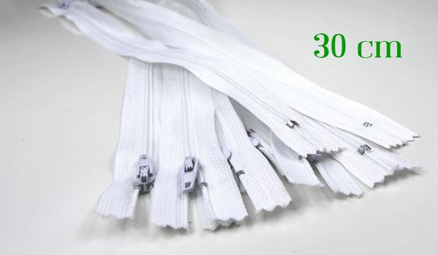 10 x 30 cm weiße Reißverschlüsse