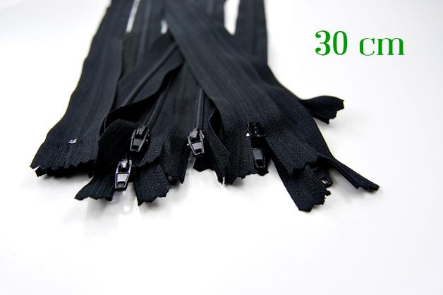10 x 30cm schwarze Reißverschlüsse