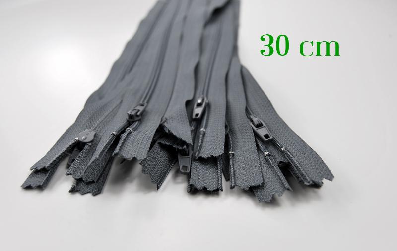 10 x 30cm graue Reißverschlüsse
