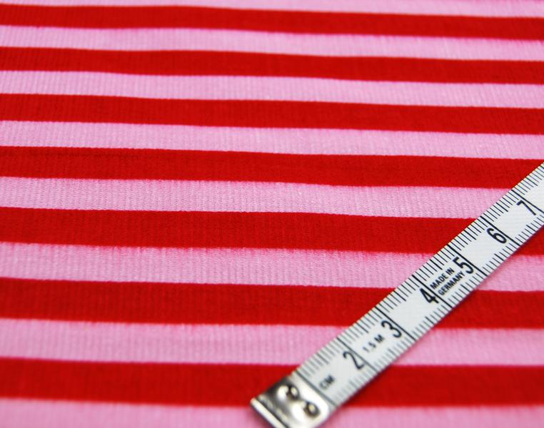 Rot-Rosa gestreifter Feincord 05 Meter