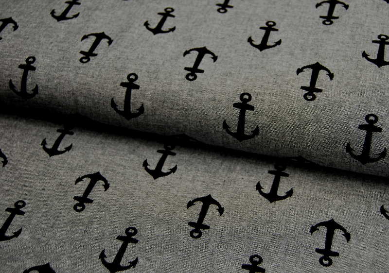 Kaufman Nautique Chambray Prints Schwarz 05m