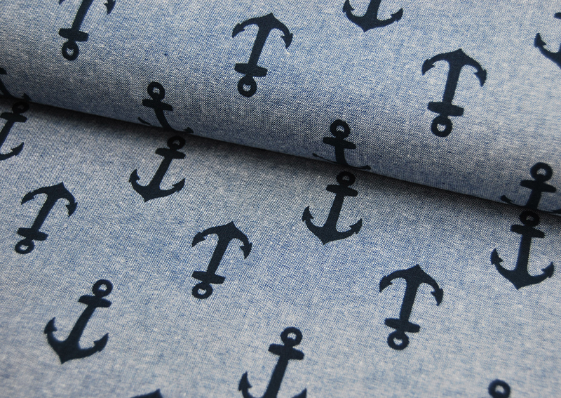 Nautique Chambray Prints von Kaufman Blau - 1