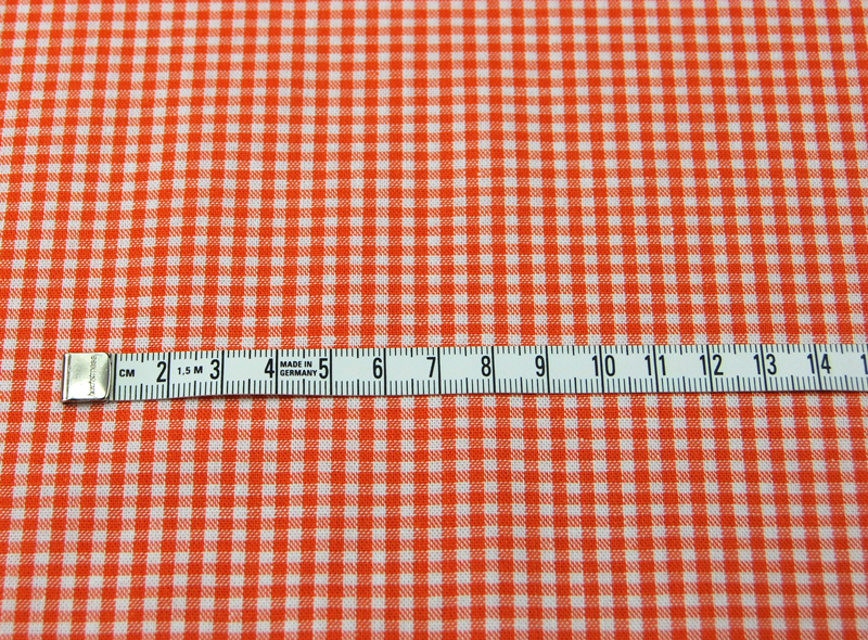kleines Karo Orange - Baumwolle 0 5 Meter