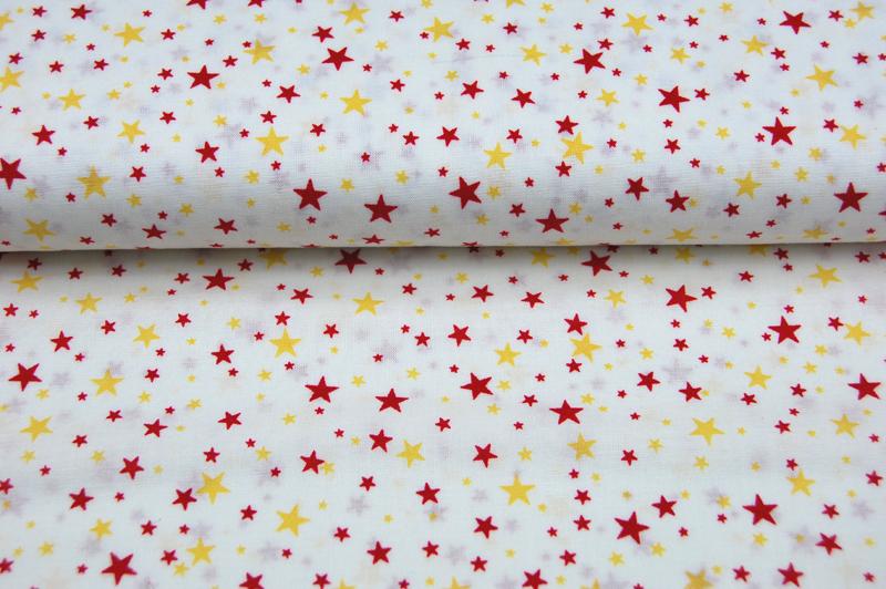 Helle Baumwolle mit gelb-roten Sternen Meter