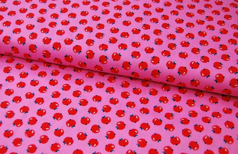 Äpfel auf Rosa - Baumwolle - 0,5 Meter
