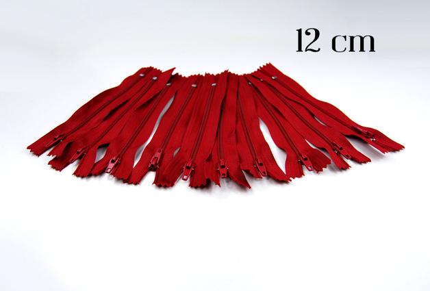 10 x 12cm dunkelrote Reißverschlüsse - 1