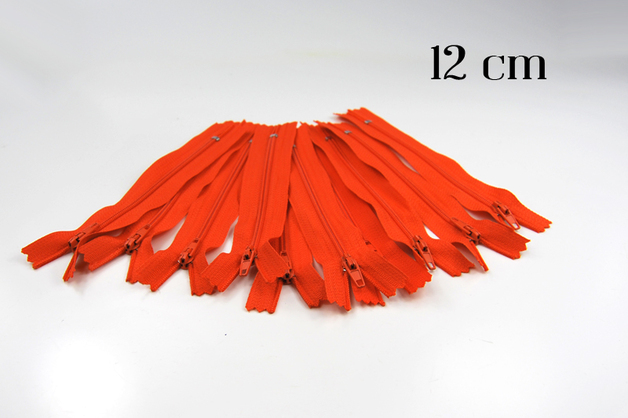 10 x 12cm orangene Reißverschlüsse - 1