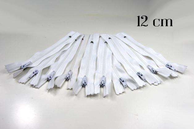 10 x 12cm weisse Reissverschluesse